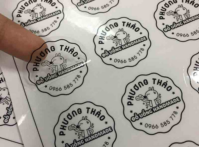 Loại sticker trong suốt dùng từ decal trong