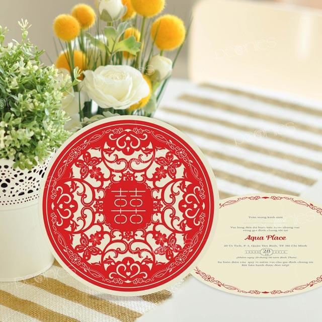 Thiệp cưới hình tròn